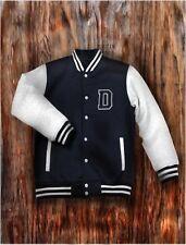 Men's Navy Letterman Varsity Baseball Jacket College School Casual Jersey Coat