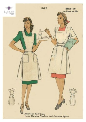 Vintage 1940/'s Sewing Pattern American Red Cross Nurse Pinafore Apron Bust 36/""
