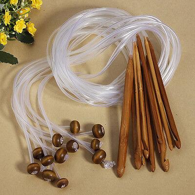12 Size 3.0-10.0mm Afghan Tunisian Bamboo Crochet Hooks Knitting Needle
