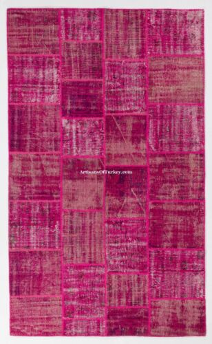 Fuchsia Pink color PATCHWORK RUG, Handmade from Overdyed Vintage Turkish Carpets