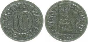 Emergency Money Aachen City 10 Pfennig 1920 Reduction IN Black Cardboard, Rs