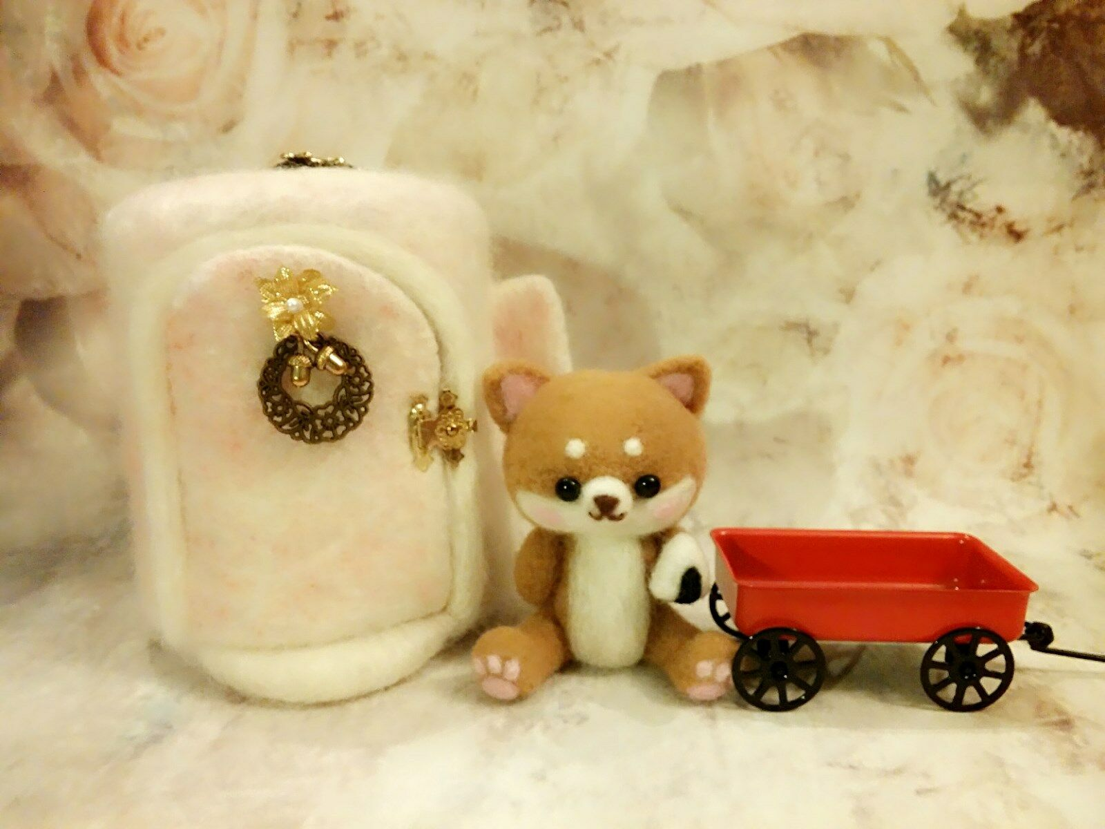 OOAK Handmade 5  Needle Felted Shiba Inu Puppy & House Set by Artist Scuznyuki