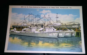Vintage-Postcard-US-Navy-Submarine-Chasers-US-Navy-Yard-Portsmouth-Va