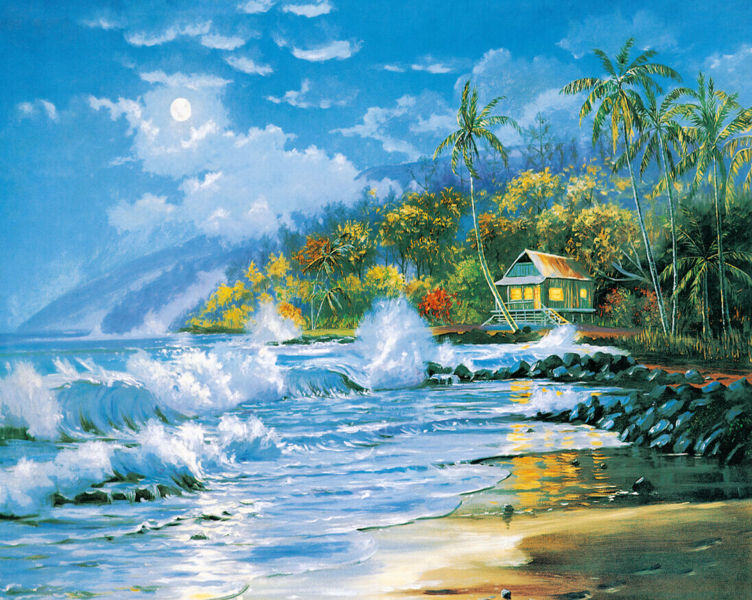 3D Sea Cottage Painting Wall Paper Wall Print Decal Wall Deco Wall Indoor Murals