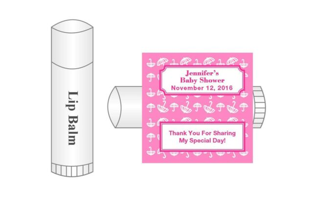 20 Personalized Lip Balm Glossy Baby Shower Girl Umbrella Favor
