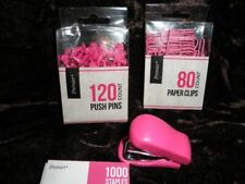 Lot Of 4 Items Office Supplies Pink Push Pins Paper Clipssmall Tiny Stapler