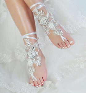 acffdec8f470e Image is loading Lace-Barefoot-Sandals-Beach-Wedding-Anklet-Sexy-Jewelry-