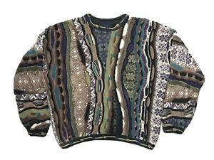 Domenic-Sacco-034-COOGI-039-Stil-Mehrfarbige-Texturiert-Pullover-Herren-grosse-Bill-Cosby-Biggie