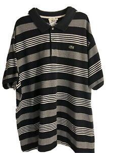 Lacoste-Mens-9r-Blue-White-Polo-Rugby-Shirt-Short-Sleeve-Striped-Green-Croc