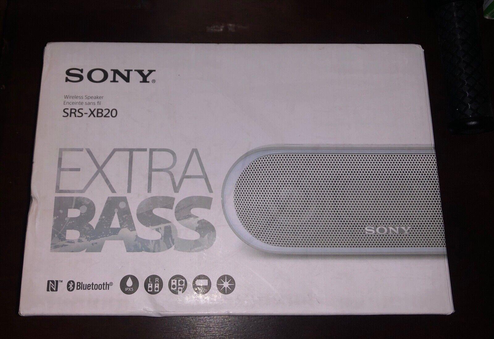 Light Grey Sony XB20 LED Bluetooth Wireless Speaker SRS-XB20 2017 Model Box