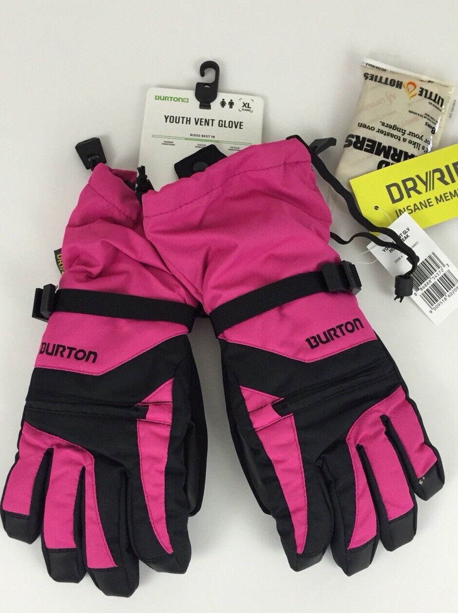 BURTON YOUTH VENT GLOVES GUANTES GUANTES GUANTES GANTS SIZE L BOYS GIRLS DRYRIDE WARMERS.  mejor moda