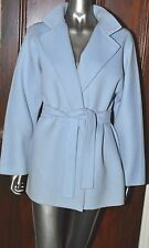 REBECCA MOSES POWDER BLUE BABY BLUE CASHMERE BLEND WRAP COAT JACKET UK 10-12