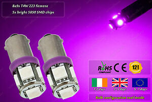 2x-LED-9mm-Bayonet-Ba9s-T4W-233-12000k-Xenon-HID-Parking-Bulbs-Side-Lights-12v