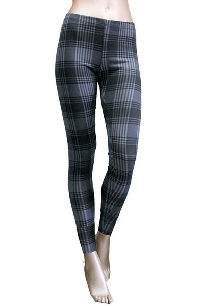 New Women Grey Tartan Plaid Check Print Holiday Fashion Leggings Tights Pants US