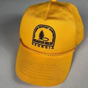 Georgia Disaster Relief Snapback Hat VTG Cap Yellow Southern Baptist Convention