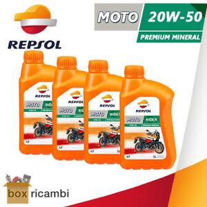 4 LITRI OLIO MOTORE MOTO 4T REPSOL RIDER 20W50 MINERALE MOTORE 4 TEMPI