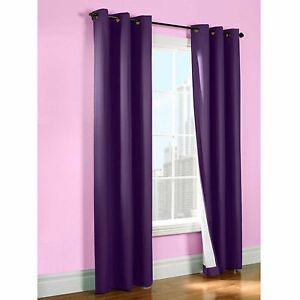 2 PURPLE BLACKOUT THERMAL GROMMET FOAM LINED WINDOW CURTAIN SMOOTH K92 84""