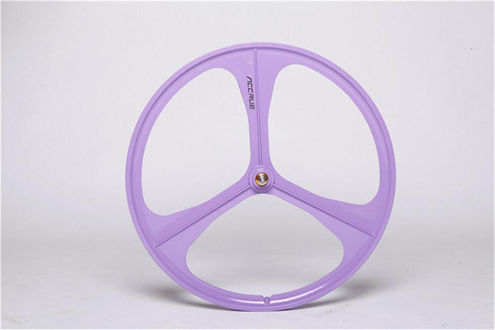 700c Tri-Spoke Fixie Fixed Gear Single Speed Bike Front Mag Wheel Rim (Purple)A8