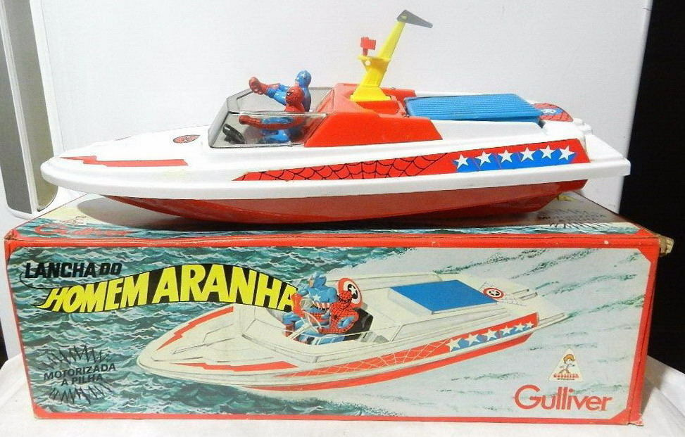 GULLIVER SPIDER-MAN & CAPTAIN AMERICA MOTORIZED BOAT 1978 MIB High Grade RARE