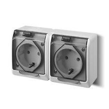 Duplice Presa di corrente grigio Scatola da parete Ambiente umidificato IP44 16A