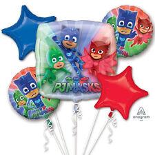 PJ Masks Foil Balloon Bouquet Birthday Party Supplies Boys Pajama Heroes ~ 5pcs
