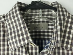 Canali-1934-Mens-M-Brown-Blue-Gingham-Check-Plaid-100-Cotton-Button-Up-Shirt