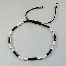 Handweaved Bracelet 925 Sterling Silver Beads Black Cotton Wax Thread w Gift Box