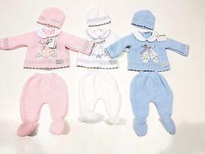 Bebes-Nino-de-Nina-3-Piezas-de-Punto-Recien-Nacido-en-Caja-Regalo-Conjunto-Azul