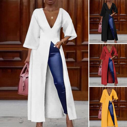 Women Long Sleeve Party Evening Blouse High Split Long Maxi Top Shirt Dress Plus