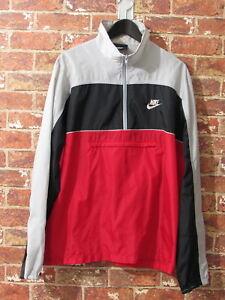 Trapunta-Vintage-80s-Nike-Colorblock-Giacca-A-Vento-Giacca-L-Nero-Rosso-Grigio-Atletico-Giacca-A