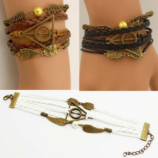 Leather Bracelet Deathly Hallows Snitch Bracelet Infinity,Silver Charm,Fashion