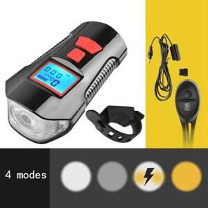 Black USB Rechargeable Bike Front Rear Tail Light Headlight Horn Bell Odometer