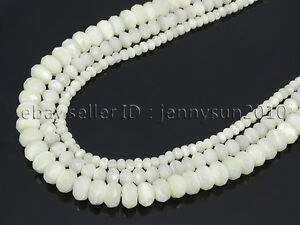 Natural-White-Mother-Of-Pearl-MOP-Shell-Faceted-Rondell-Beads-16-039-4mm-6mm-8mm