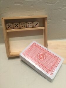 Playing-Cards-with-5-Dice-and-Wooden-Box-New-Sealed