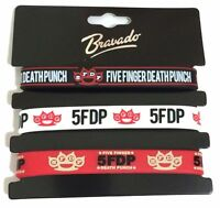 Five Finger Death Punch Set Of 3 Silicone Rubber Wristbands Official 5fdp