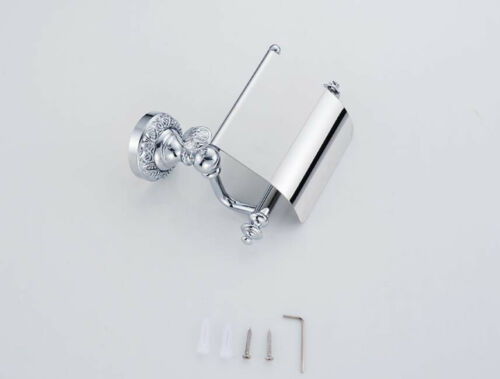 Bathroom Toilet Paper Roll Holder Brass Wall Mounted Storage Cover Shelf Chrome