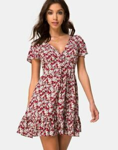 MOTEL-ROCKS-Laily-Skater-Dress-in-Floral-Charm-Red-Size-Small-S-mr6