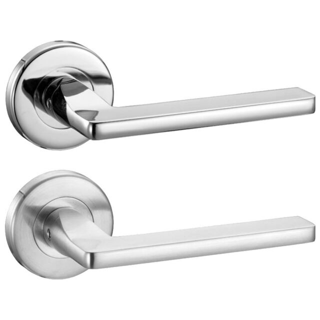 Leon Internal Door Handles Sets Lever On Rose Polished or Satin Chrome