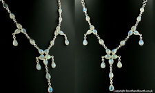 Rainbow Moonstone and Sterling Silver Multi Stone Droplet Necklace