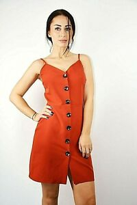 New-Womens-Ex-Brand-Rust-Front-Large-Button-Detail-Pinafore-Mini-Dress-Size-4-14