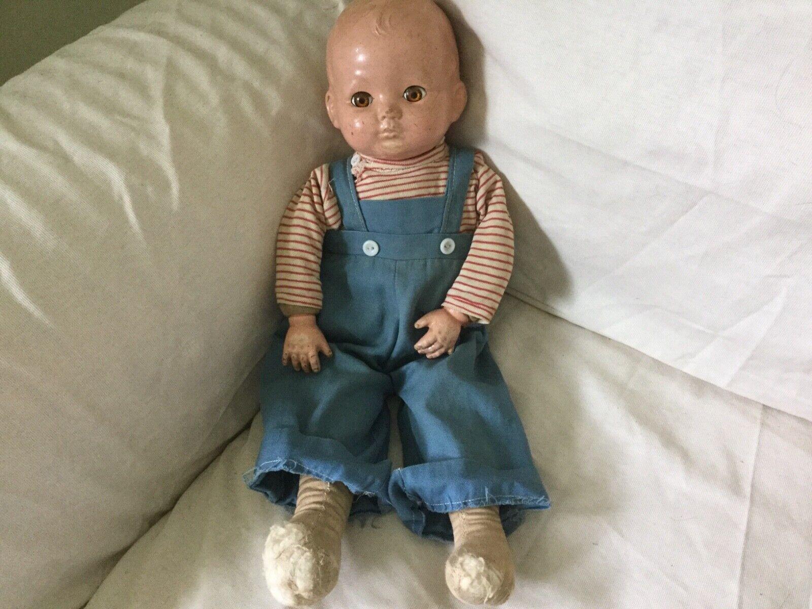 Antik Effanbee Composite Stoff Baumwolle Boy Puppe mit Schlaf Augen