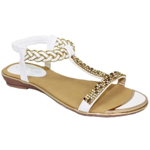 JLH913 Comet Slip On Padded Insole T Bar Gemstone Gold Plate Shoes Sandals
