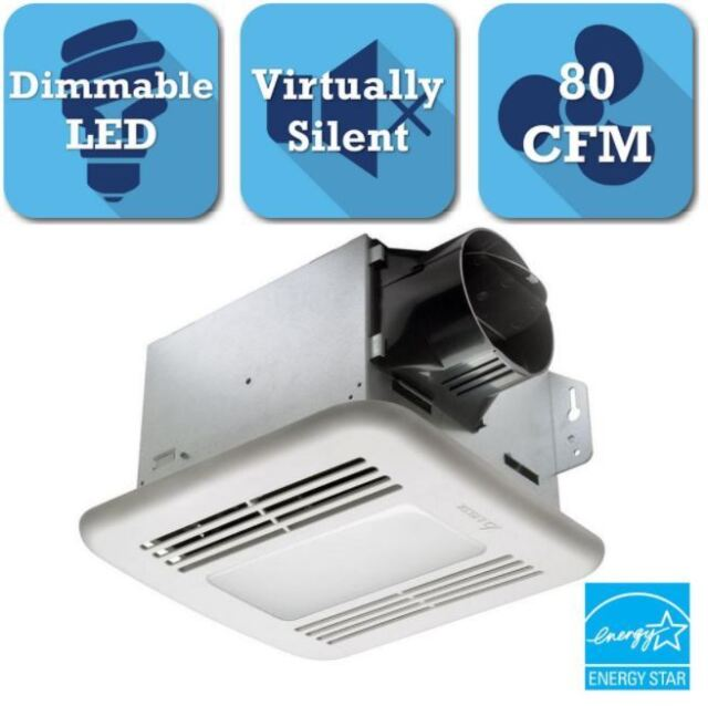 Delta Breez Exhaust Bath Fan 80-CFM Bathroom Ceiling Ventilation LED Light