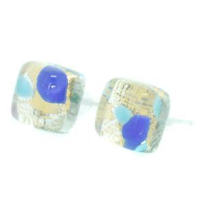 Pendientes-de-cristal-de-Murano-Oro-Azul-Claro-Millefiori-Hecho-a-Mano-Venecia-Stud-Cuadrado