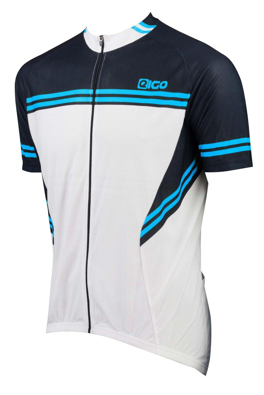 NUOVO Eigo bicicletta strada XC MTB Ciclismo uomoica Corta Jersey Bianco   Nero   Blu