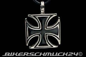 Eisernes-Kreuz-Anhaenger-Edelstahl-mit-Lederband-Bikerschmuck-Herren-Geschenk-NEU