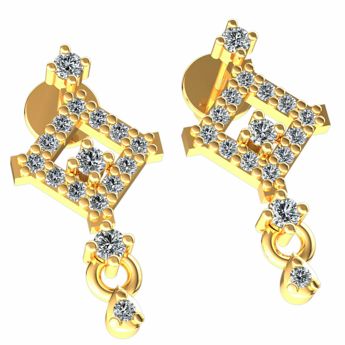 Real 0.25carat Round Cut Diamond Ladies Square Drop Earrings Solid 18K gold
