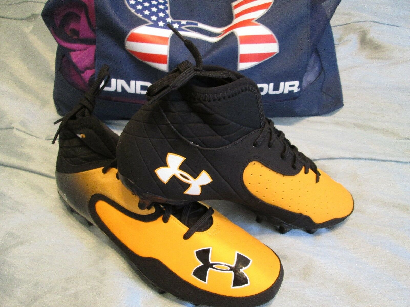 NEW Uomo UNDER ARMOUR Football Cleats Blk&Org/Gold NITRO ICON MID 11.5 FREE SHIP