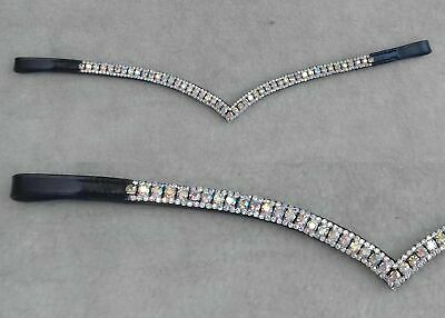All Clear Crystal with Chain Tack-Store  Leather Horse Wave Browband