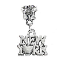 5pcs York City Big Apple Trip Dangle Charm Fits European Bead Bracelets